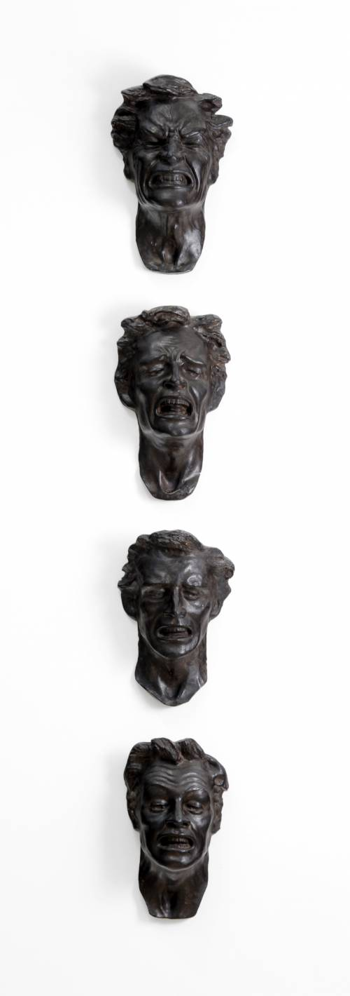 Photograph of the work of art: Four Masks of Facial Expressions: Violent Effort Breathlessness Fatigue Exhaustion