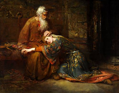 Photograph of the work of art: Cordelia Comforting her Father, King Lear, in Prison