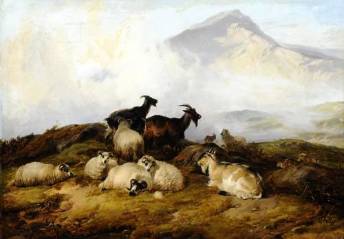 Photograph of the work of art: Landscape with Sheep and Goats