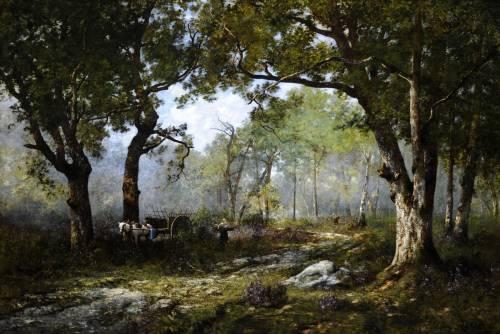 Photograph of the work of art: Le Dormoir de Moret - le Foret de Fontainebleu The Resting Place at Moret - Forest of Fontainebleu