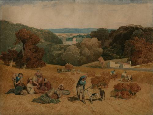 Photograph of the work of art: The Harvest Field – A Pastoral