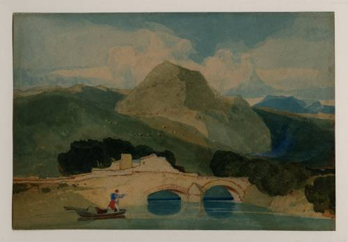 Photograph of the work of art: A River Spanned by Two-Arched Bridge, Called 'Tan y Bwlch'