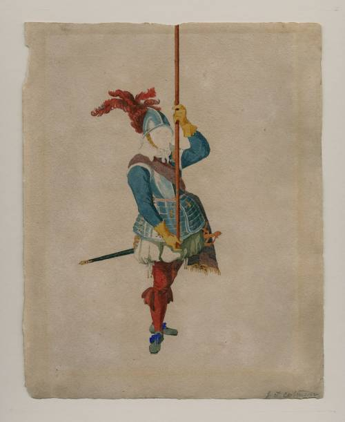 Photograph of the work of art: A Dutch Pikeman, after an engraving in Jacob de Gheyn's, Wapenhandelinghe, The Hague, 1607. Called 'A Spanish Halberdier'