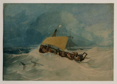Photograph of the work of art: A Lugger Attending a Rowing Boat, with a Cutter Beyond, in Rough Seas